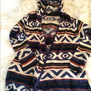 One world Aztec Sweater Hooded Jacket sz xl